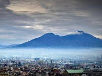 Snow on Vesuvio volcano in Naples