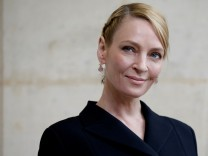 FILE PHOTO: Actress Uma Thurman poses during a photocall in Paris