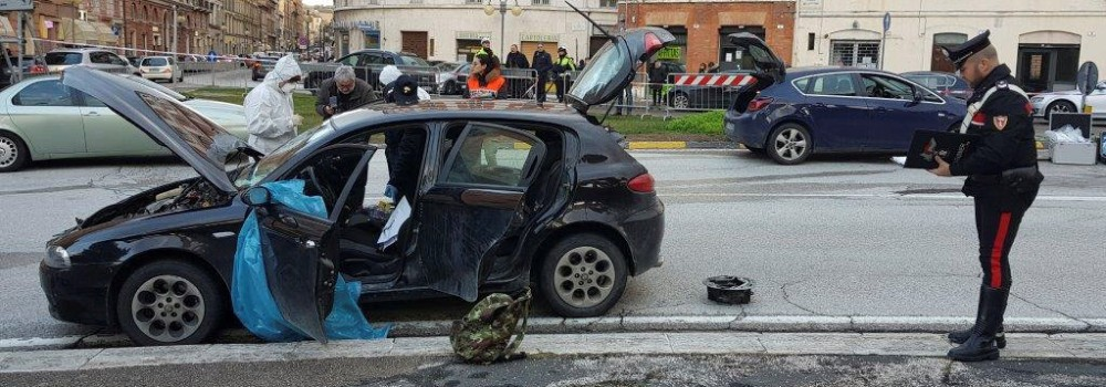 The car of the suspected shooter that opened fire on African migrants, identified as Luca Traini, 28, is seen in Macerata