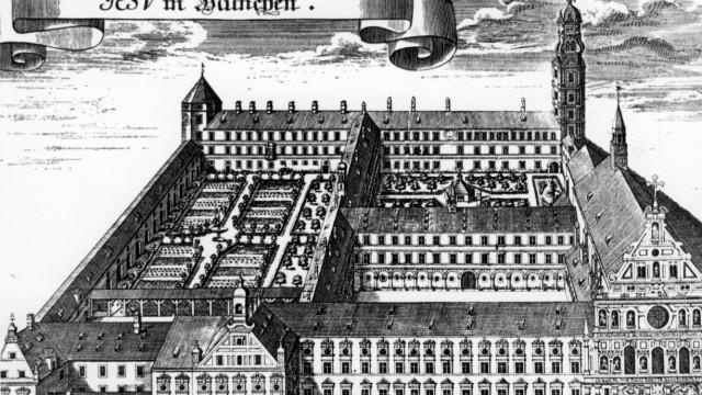 Jesuitenkolleg mit der Kirche St. Michael in München, um 1700