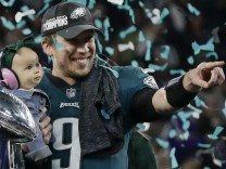 Nick Foles, Quarterback der Philadelphia Eagles, strahlt nach dem Gewinn des Super Bowls
