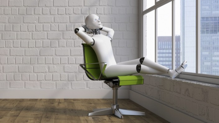 Robot sitting on swivel chair, looking out of window