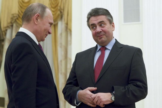 Russian President Putin meets with German Foreign Minister Gabriel in Moscow