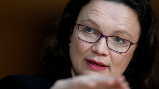 FILE PHOTO: GermanyâÄÖs Social Democrats (SPD) parliamentary group leader Andrea Nahles gives a statement about coalition talks forming a new coalition government in Berlin