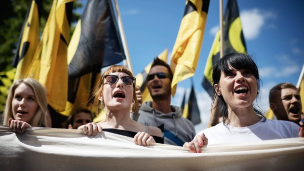 Demonstration der Identitären Bewegung in Berlin