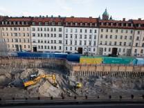 München: Baustelle Thomas Wimmer Ring, Tiefgarage.