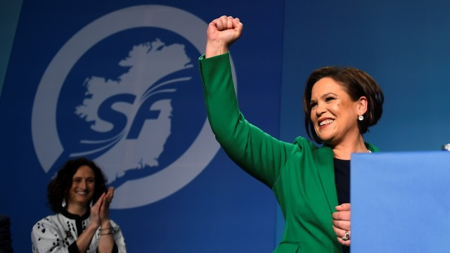 Newly elected Sinn Fein President Mary Lou McDonald makes her acceptance speech on stage at a special party conference, at which Gerry Adams formally stepped down as President, in Dublin