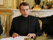 French President Emmanuel Macron speaks during a Trianon Council meeting aiming to strenghten the links between France and Russia at the Elysee Palace in Paris