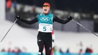 Nordische Kombination: Eric Frenzel gewinnt Gold von der Normalschanze bei den Olympischen Winterspielen 2018 in Pyeongchang.