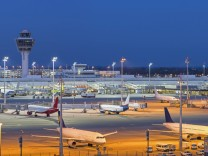 Germany Bavaria Munich View of Munich Airport at night PUBLICATIONxINxGERxSUIxAUTxHUNxONLY HN0005