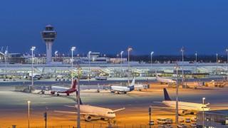 Germany Bavaria Munich View of Munich Airport at night PUBLICATIONxINxGERxSUIxAUTxHUNxONLY HN0005
