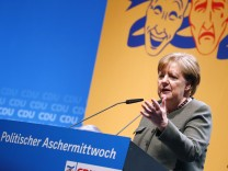 German Chancellor Merkel addresses the traditional Ash Wednesday meeting of the CDU party in Demmin