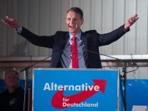 Björn Höcke, Vorsitzender der AfD in Thüringen, spricht auf dem politischen Aschermittwoch in Sachsen.
