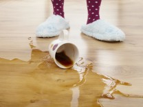 coffee cup fallen on the floor