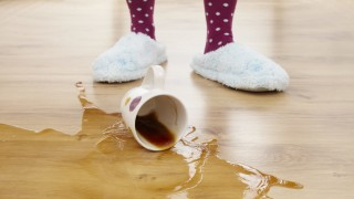 coffee cup fallen on the floor