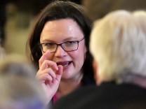 SPD-Politikerin Andrea Nahles im Februar 2018. Im ARD-Deutschlandtrend rutschte die Partei mit 16% auf ein neues Rekordtief.