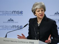 Britain's Prime Minister May talks at the Munich Security Conference in Munich