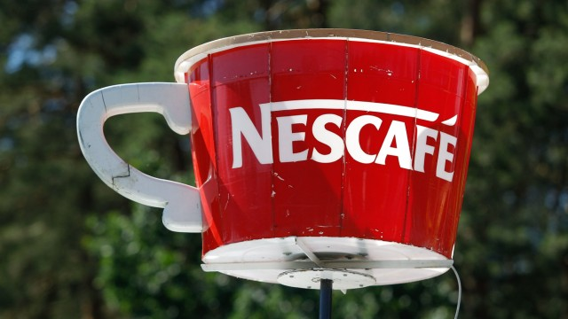 June 18 2017 Bydgoszcz Poland A model of a giant coffee cup with the Nescafe brand is seen on