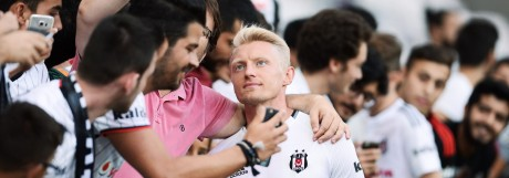 Besiktas s players take part in a training session in Istanbul Pictured Andreas Beck take a selfie