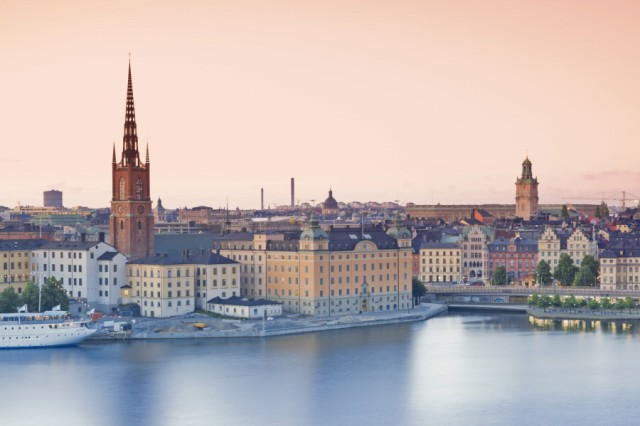 Sweden Stockholm view from Soedermalm to the old town in the evening PUBLICATIONxINxGERxSUIxAUTxHU