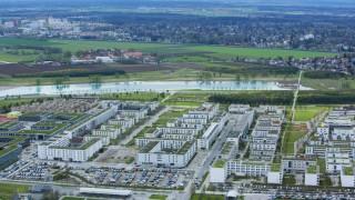 Messestadt Riem mit Buga See Luftaufnahme München Riem München Bayern Deutschland Europa Copyr