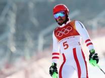 Ski Alpin: Der Österreicher Marcel Hirscher scheidet überraschend im Slalom bei den Olympischen Spielen 2018 in Pyeongchang aus.
