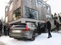 Volvo Cars CEO Hakan Samuelsson shows their new model V60 station wagon at a press meeting outside Stockholm