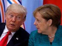 Donald Trump und Angela Merkel auf dem G20-Gipfel 2017 in Hamburg.