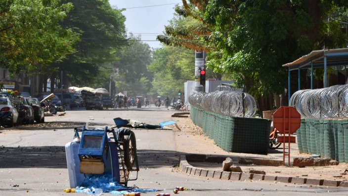 An abandoned cart is pictured near Burkina Faso's army headquarters following an attack in the capital Ougadougou
