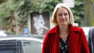 Schwesig of Social Democratic Party (SPD) arrives to the Germany's SPD leadership meeting in Berlin