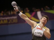 180304 BIRMINGHAM March 4 2018 Germany s David Storl competes during the men s shot put fi