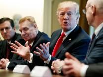US-Präsident Donald Trump bei einem Treffen mit den Vorständen von Stahl-und Aluminiumfirmen im Weißen Haus.