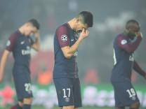 Spieler von Paris Saint-Germain nach dem verloreren Champions-League-Achtelfinale 2018 gegen Real Madrid.