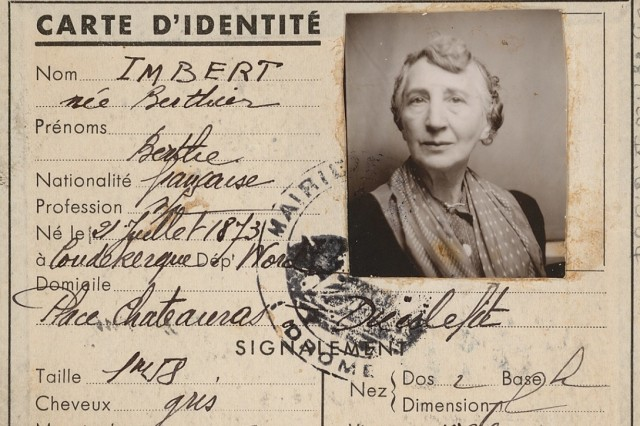 Gefälschte Carte d'Identité für Betty Isolani, auf den Namen Berthe Imbert, 22. Januar 1943, Deutsches Exilarchiv 1933–1945 der Deutschen Nationalbibliothek