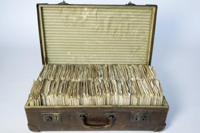 Koffer von Walter Meckauer, in dem er seine Kurzgeschichten aufbewahrte, um 1933, Deutsches Exilarchiv 1933–1945
