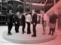Bundeskabinett: Die SPD-Minister um Olaf Scholz und der Parteivorsitzenden Andrea Nahles formieren sich.