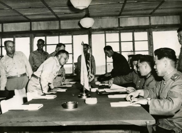 Lt Gen William K Harrison UN delegation and Nam IL Communist delegation at the Korean Confere