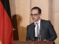 Außenminister Heiko Maas 2018 bei seiner Antrittsrede im Auswärtigen Amt. Maas wurde zuvor im Deutschen Bundestag vereidigt.