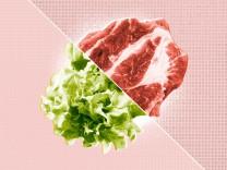 Vegetarierin isst Fleisch