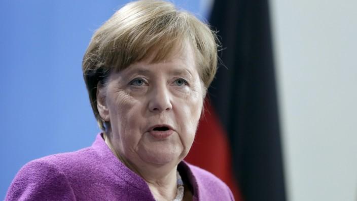 Angela Merkel auf einer Pressekonferenz 2018 in Berlin.