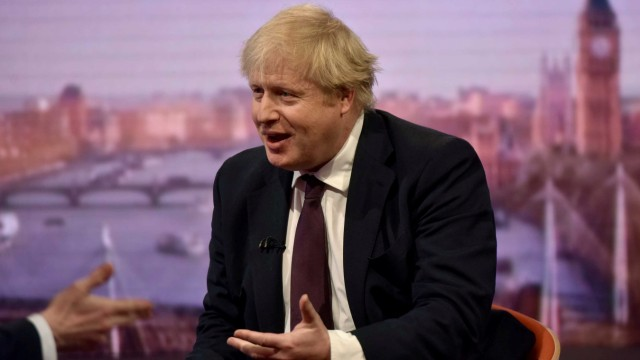 Britain's Foreign Secretary Boris Johnson is seen speaking on the BBC's Andrew Marr Show in this photograph received via the BBC in London