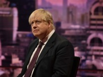 Britain's Foreign Secretary Boris Johnson is seen appearing on the BBC's Andrew Marr Show in this photograph received via the BBC in London