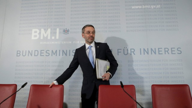 Austria's Interior Minister Kickl arrives for a news conference in Vienna