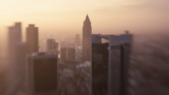 Germany Frankfurt elevated view to the city at evening twilight PUBLICATIONxINxGERxSUIxAUTxHUNxONL