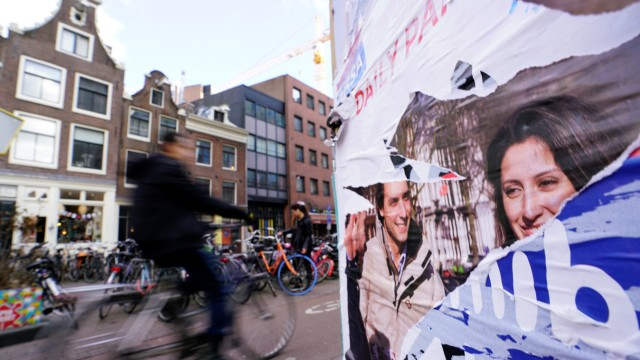 Thierry Baudet (Forum for Democracy) campaign posters are seen during the local council election in Amsterdam