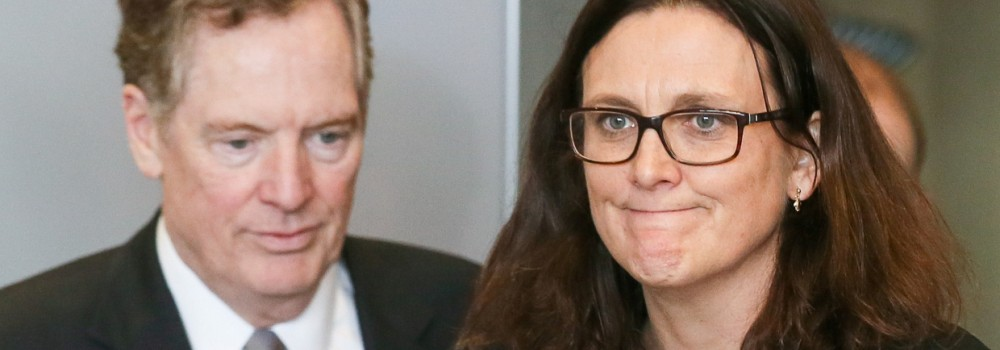 FILE PHOTO: U.S. Trade Representative Lighthizer and EU Trade Commissioner Malmstrom take part in a meeting to discuss steel overcapacity in Brussels