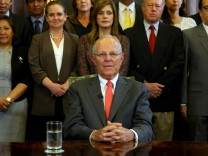 Peru's President Pedro Pablo Kuczynski addresses to the nation as he resigns at the Presidential Palace in Lima