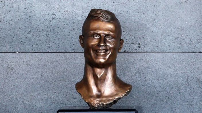 A bust of Cristiano Ronaldo is seen before the ceremony to rename Funchal Airport as Cristiano Ronaldo Airport in Funchal