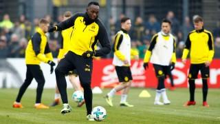 Usain Bolt participates in a training session with Borussia Dortmund