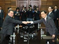 Diplomaten aus Nordkorea und Südkorea treffen sich im März 2018, um ein Gipfeltreffen zwischen beiden Ländern vorzubereiten.